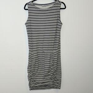 Athleta Tulip Striped Ruched Dress Size M